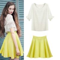 2014 summer plaid short-sleeve top female elegant expansion bottom high waist puff skirt set dress twinset