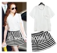 2014 fashion summer white o-neck pocket decoration short-sleeve t high waist stripe short skirt set female