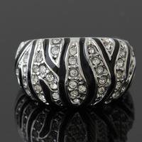 Retro Classic Black Enamel Pave Rhinestone White Gold Plated Ring J00080