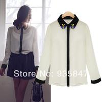 New 2014 fashion shirt women's chiffon shirt long-sleeve shirt beading color block shirt