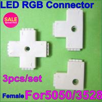 10set/lot LED4pin RGB strip connector free solder female type T L + shape4pin DIY part for LED RGB3528/5050strip free shipping