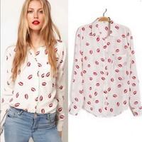 new spring summer 2014 fashion women body long sleeve plus size kiss blouse brand style ladies' shirt white female CASUAL shirt
