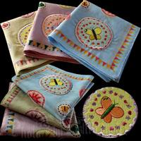 free shipping Handkerchief women's fogle applique embroidery butterfly 100% cotton handkerchief 100% cotton