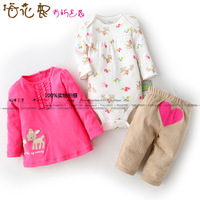 Male clothing girls clothing romper top trousers chromophous piece set baby set
