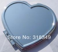wholesale heart pocket mirror love makecup mirror for women silver color DIY 50pcs per lot