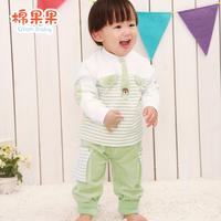 Cotton autumn and winter velvet baby boy set cartoon fleece baby clothes 0 - 1 - 2 years old set