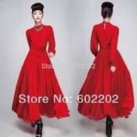 New Arrival 2014 Star Style Women's Long Sleeve Fashion Elegant Maxi Faux Silk Chiffon Party Dresses Black,Red S,M,L