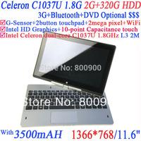 "10 point Capacitance touch pc 11.6"" 1366*768 16:9 eDP Panel Laptop with Ivy Bridge 1037U 1.8Ghz  2G RAM 320G HDD Windows Linux"