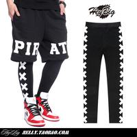 2014 Fashion Street Pyrex Vision Hip-hop Men's Pants Side FUKK Print Leggings Lovers of Trousers Been Trill HBA Black