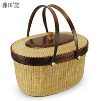 Rattan home storage female portable storage basket rattan knitted picnic basket gift 418899