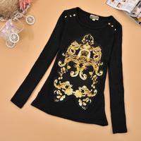 Slim fashion women's pullover shirt long-sleeve rivet top spring and autumn all-match sweatshirt