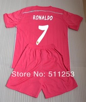 High Quality 2014-2015  Real Madrid Pink Soccer Kit(Jersey+Short)  RONALDO #7 Soccer Uniforms Set