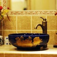 Handmade ceramic bathroom sink counter basin gold cleansing peony basin 975