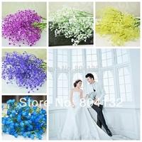 "48Pcs/lot 56cm/22.05"" Length 5 Colors Artificial Starry Gypsophila Plastics Baby's Breath Flowers Home Wedding Decoration Flower"