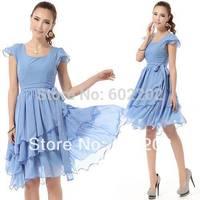 Sale 2014 New Women Size Pop Star Fashion Elegant Noble Sky Blue Multilayer Ruffles Casual Formal Bohemian Evening Dresses Girl