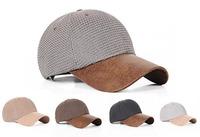 Wholesale 10pcs COOL Men Blank Flex Fit PU Bill Baseball Caps Mens NEW Sports Cap Fashionable Summer Linen Hat Autumn Blank Hats
