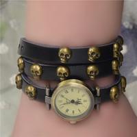 Hot Market! Promotional Most Popular European Style Punk Fashion Women Long Leather Studded Skull Quartz Watch