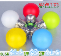 5PCS/lot 220v e27 1w led bulb  holiday lights multicolour led energy saving bulb outdoor red white colorful free shipping