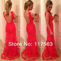 2014 New Arrival Elegant Red V Neck Lace Applique Long Open Back Special Occasion Gown Prom Dress Women Free Shipping WH438