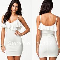 Free shipping White Decolletage Frilled Neck Mini Dress Wholesale 10pcs/lot  2014 Dress New Fashion 21199