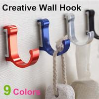 New Space Aluminum  Metal Unique Modern Wall Coat Hooks for Bathroom kitchen 9 Colors