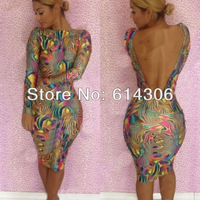 Polyester+Spandex Womens Ladies Bodycon Stretch Long Sleeve Backless Floral Dress Sexy Party Clubwear Dresses Knee Length SML