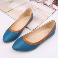 2014 New style  PU leather shoes flat shoes For women ladies blue  Low mouth flat shoes Drop shipping