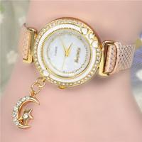 Hot Market! Promotional Most Popular Hawaiian Fashion Love / Heart Moon Pendant Inlaid Women Leather Quartz Watch