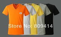 Fashion Men's Short Sleeve Brand Shirts 5 Color V-Neck Cotton Casual Tee T-shirts Top Quality  M--XXL Free Shipping