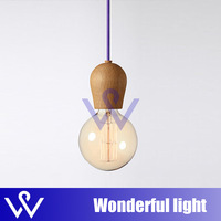 No bulbs 1 pcs WOOD Muuto E27 socket Chandelier lamp lights Hanging wood holder pendant LAMP