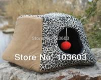 Multifunctional Dual-purpose Type Leopard Thick Velvet Pet House Dog Cotton Nest Teddy Warm Autumn Winter Kennel Bed Mat Sofa
