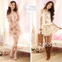 Free Shipping   Summer Short-Sleeved Dresses   Sweet Floral   Chiffon Dress  Women's clothing  Waist