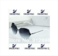 free shipping 2014 new Swarovski women's diamond rimless coating sunglasses female star style sunglasses fashion drivers glasses