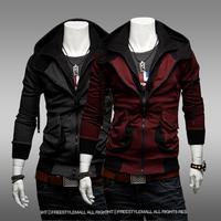 13 sweatshirt male fashion zipper casual slim color block with a hood cardigan sweatshirt thin grey outerwear
