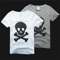 european style 2-7yrs boys tee shirt skull childrens summer casual tops white black 100cotton kids cool design 914