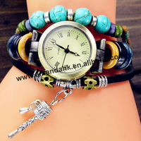 100pcs/lot New Arrivals GENUINE Leather  Watches With Turquoise Retro Little Hammer Dress Watch Fashion Lady Wristwatches