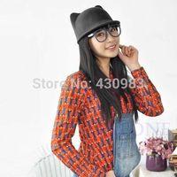 1PC New Winter Fashion Women Devil Hat Cute Kitty Cat Ears Wool Derby Bowler Cap