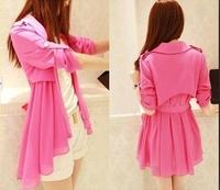 Mushroom 2014 women's clothes spring and summer slim medium-long trench chiffon shirt cardigan