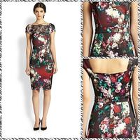 Free shipping 2014 spring and summer new retro mature printing Slim waist dress 1139