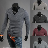 Hot selling 2014 Mens slim fit V-neck sweater fashion knitwear leisure classic men's pullover knitting shirt  men's clothing