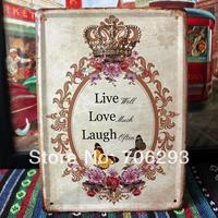 [Lucky Zakka] love crown flower metal tin signs Art wall decor House Cafe Restaurant Bar Metal Paintings 15x21cm TPH14032906