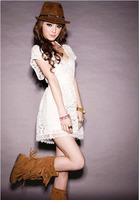 Free shipping New 2014 Party Club Women White Deep V Neck Vestido Lace Dresses Short Sleeve dress