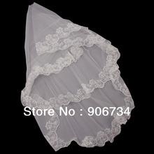 New 3m Lacework Graceful Flower Edge Mantilla Wedding Part Dress Bride Veil Free Shipping(China (Mainland))