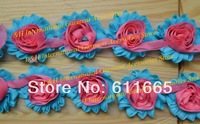 Free CPAM mixed color shabby chic chiffon rose flower lace trimming for wedding dress,shabby hair flower ,20pcs/lot