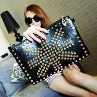 Brand Designer Punk Style PU Rivet Rhinestone clutch purses UK Flag Party Bag fluorescence color women Messenger handbags KN041