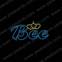 Bee And Crown Rhinestone Iron On Letters Wholesale Heat Press Hot Fix Strass Design Iron On Applique Free Dhl Shipping 50Pcs/Lot