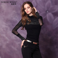 Nordic winds 2014 spring women's fashion all-match turtleneck knitted basic shirt female