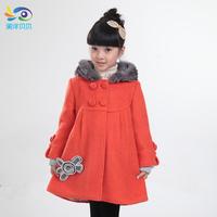 Children's clothing 2013 winter female child outerwear child medium-long woolen outerwear