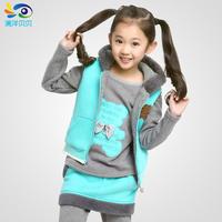 Female child sweatshirt piece set child sports set zipper sweater female child sweatshirt set