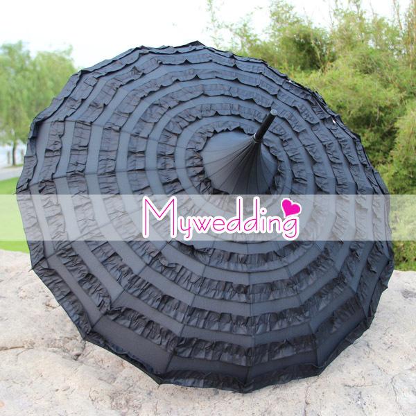 Free Shipping Lolita Gothic Stripe Black Frill Pagoda Umbrella Party Decoration Umbrella(China (Mainland))